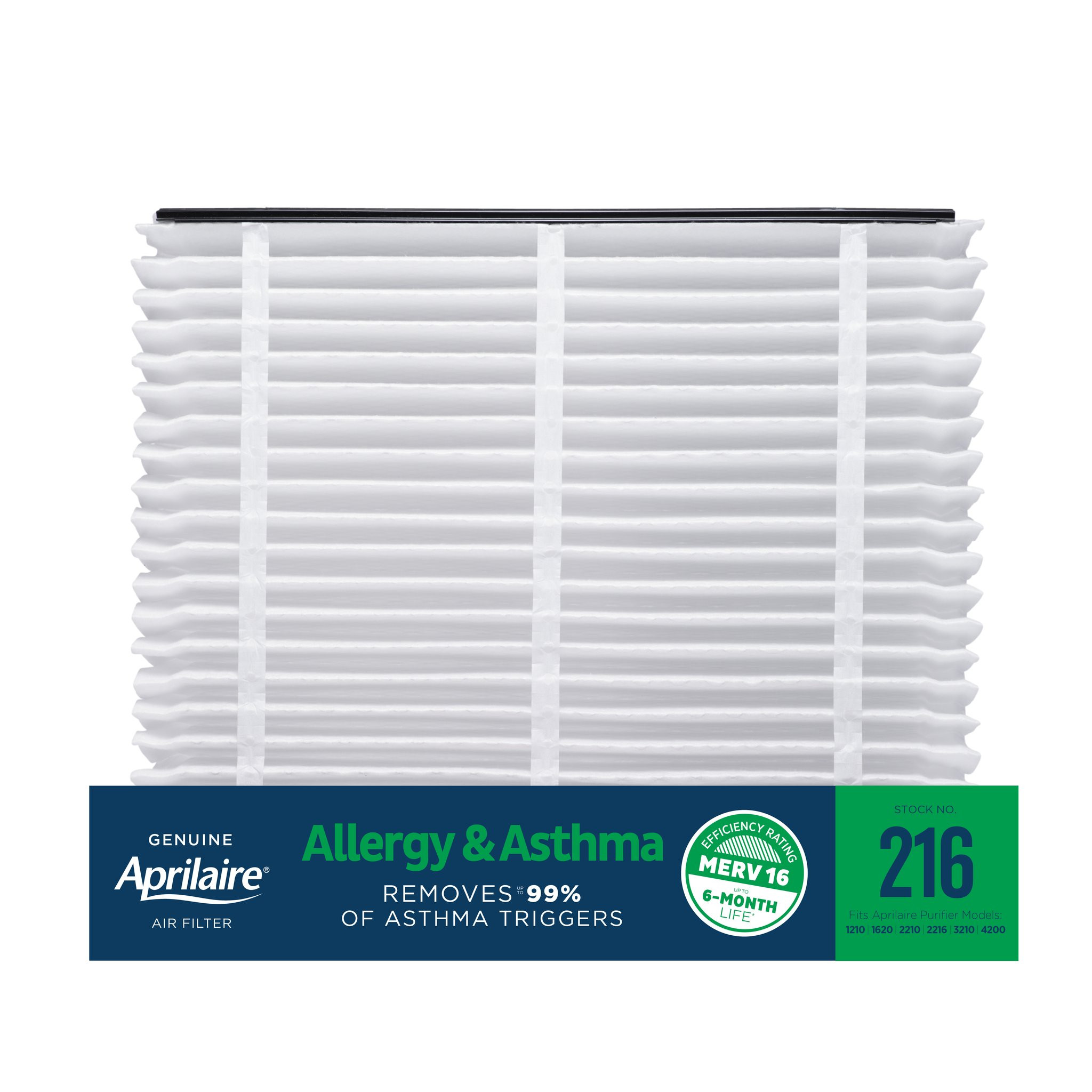 Aprilaire 216 Allergy & Asthma Air Filter Replacement for Whole-Home Air Purifiers, MERV 16
