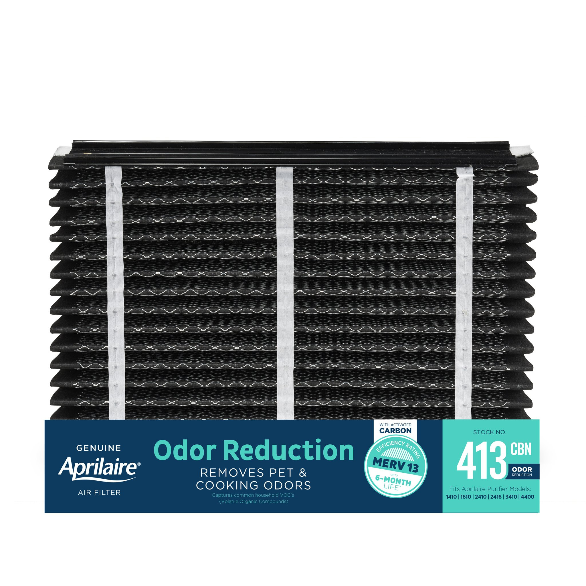 Aprilaire 413-CBN Odor Reduction Filter Replacement for Whole-Home Air Purifiers, MERV 13 with Activated Carbon