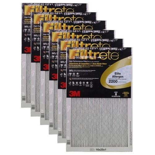 """3M Filtrete Elite Allergen Filter (6-Pack) - 16"""" x 25"""" x 1"""" - MFG #EA01DC-6"""