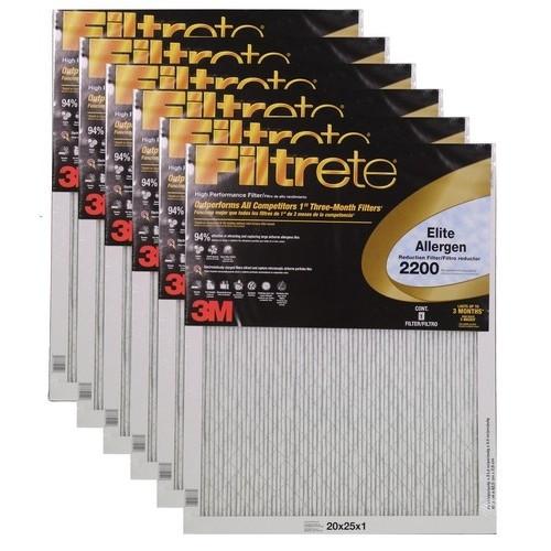 """3M Filtrete Elite Allergen Filter (6-Pack) - 20"""" x 25"""" x 1"""" - MFG #EA03DC-6"""